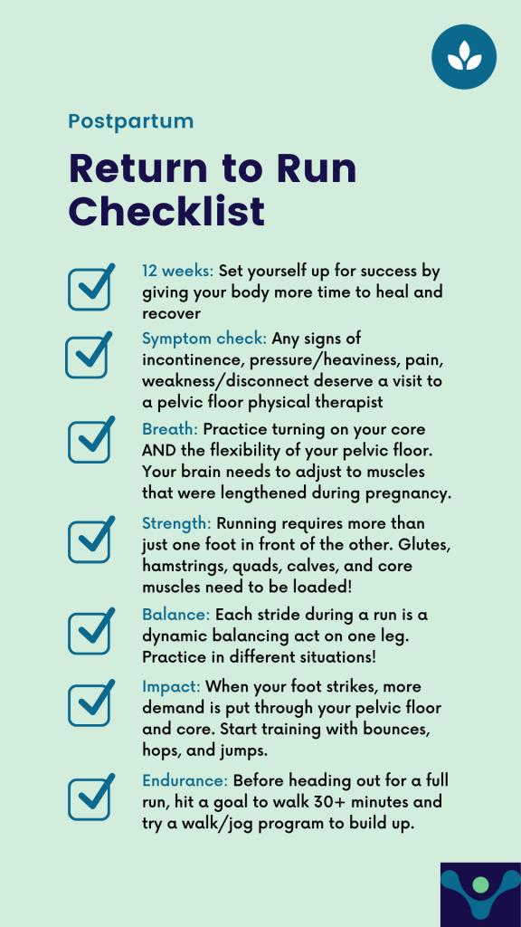 Postpartum Return to Run Checklist; Postpartum return to exercise; postpartum pelvic floor physical therapy